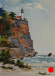 seascape, landscape, cliff, lighthouse, lake superior, original watercolor painting, oberst