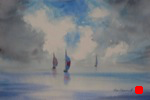 landscape, seascape, sea, sky, sailboat, spinnaker, original watercolor painting, oberst