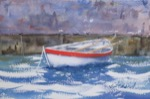 seascape, dock, boat, rowboat, original watercolor painting, oberst