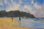 landscape, seascape, beach, stroll, original watercolor painting, oberst