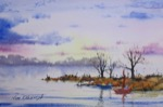 seascape, boat, sailboat, sunset, evening, sea, lake, original watercolor painting, oberst