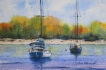 seascape, boat, sailboat, beach, autumn, fall, foliage, mooring, Piscataqua river, portland, new hampshire, maine, original watercolor painting, oberst