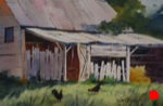 landscape, rural, barn, shed, arkansas, chicken, original watercolor painting, oberst