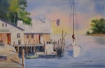 seascape, landscape, marina, wharf, dock, boat, sailboat, original watercolor painting, oberst