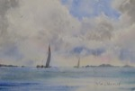 seascape, sea, boat, sailboat, sky, clouds, original watercolor painting, oberst
