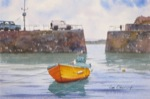 seascape, uk, england, cornwall, mousehole, harbor, sea, boat, original watercolor painting, oberst