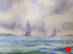 eascape, boat, sailboat, storm, sky, waves, oberst, watercolor, painting