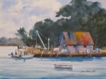 landscape, seascape, fishing, boat, maine, south thomaston, penobscot bay, original watercolor painting, oberst