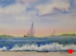seascape, surf, beach, boats, sailboats, watercolor, painting, oberst