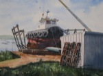 landscape, seascape, boat, tug, dry dock, rockland, maine, original watercolor painting, oberst