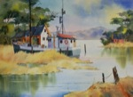 seascape, landscape, boat, swamp, fishing boat, dock, pier, original watercolor painting, oberst