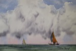 seascape, boat, sailboat, sea, ocean, race, sky, clouds, oberst, watercolor, painting