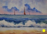 landscape, seascape, beach, surf, waves, clouds, boat, sailboat, original watercolor painting, oberst