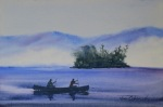 seascape, lake, mountain, mist, canoe, paddle, water, boat, original watercolor painting, oberst