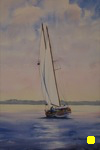 seascape, landscape, ship, boat, clipper, sailboat, maine, rockland, original watercolor painting, oberst