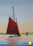 seascape, landscape, sea, boat, sailboat, canada, maritimes, prince edward island, original watercolor painting, oberst