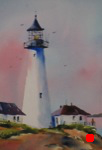 landscape, seascape, seacoast, lighthouse, portland head, maine, weekly watercolor, original watercolor painting
