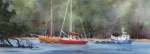 seascape, boat, sailboat, anchor, moor, england, cornwall, river, river fal, north wood, original watercolor painting, oberst