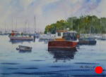 seascape, maine, rockport, harbor, boat, dinghy, sailboat, lobster boat, coast, original watercolor painting, oberst