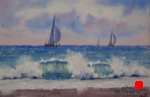 landscape, seascape, beach, waves, surf, ocean, boat, yacht, sailboat, spinnaker, original watercolor painting, oberst