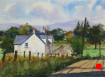 landscape, europe, uk, scotland, stirling, cottage, scottish, rural, original watercolor painting, oberst