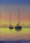 seascape, boat, sailboat, harbor, anchor, anchorage, sea, sunset, painting, watercolor, oberst