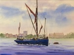seascape, uk, london, thames, river, sailing, barge, oberst, painting, watercolor