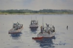 landscape, seascape, coast, maine, boats, fishing, lobster, dinghy, original watercolor painting, oberst