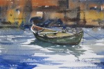 seascape, boat, rowboat, dock, sea, oberst, watercolor, painting