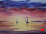 seascape, landscape, twilight, sunset, glow, sailboat, boat, sail, original watercolor painting, oberst