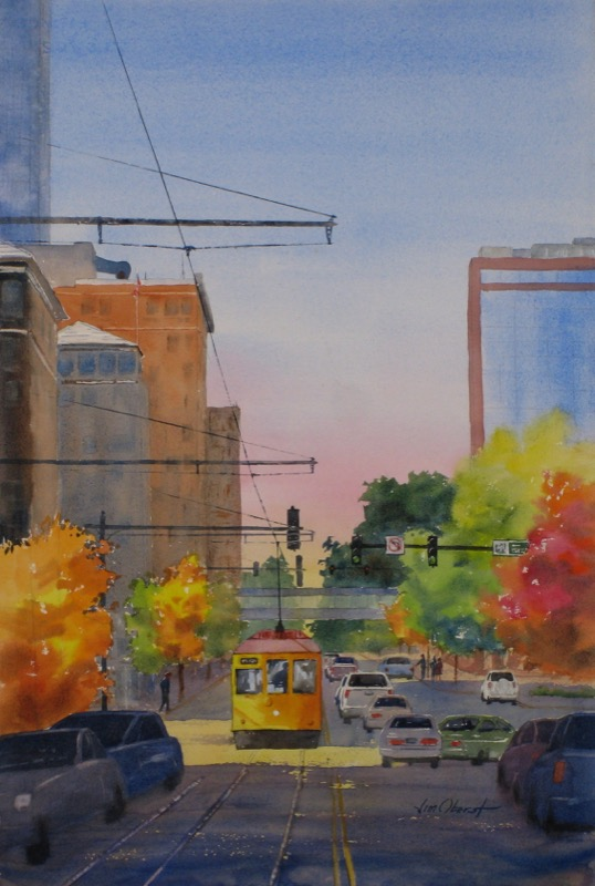 landscape, cityscape, arkansas, little rock, clinton avenue, trolley, street car, original watercolor painting, oberst