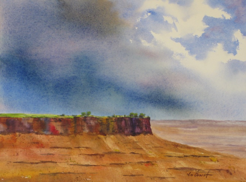landscape, moab, utah, canyonlands, mesa, storm, original watercolor painting, oberst