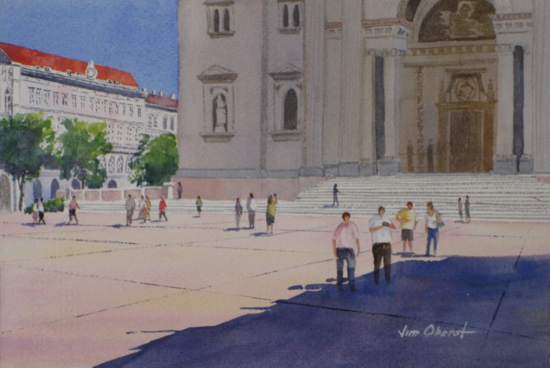 landscape, buda, budapest, hungary, europe, church, basilica, oberst, original watercolor painting