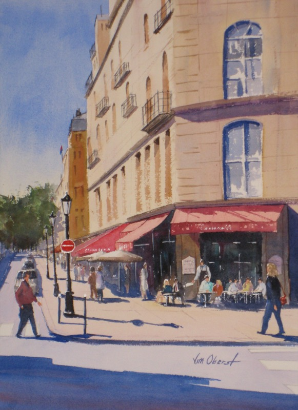 landscape, paris, cafe, esmeralda, europe, original watercolor painting, oberst