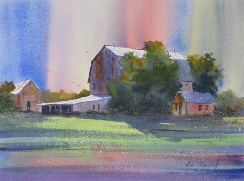 landscape barn color northern lights original watercolor painting oberst