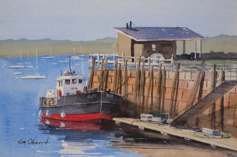 landscape seascape harbor wharf dock working boat rockland maine original watercolor painting