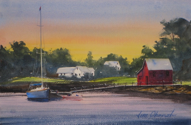 landscape seascape new england cove harbor cottage seaside sailboat dock waterfront sea original watercolor painting