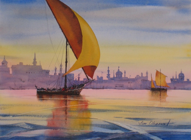 seascape, landacape, bosphorus, istanbul, constantinople, dhow, boat, minaret, original watercolor painting, oberst