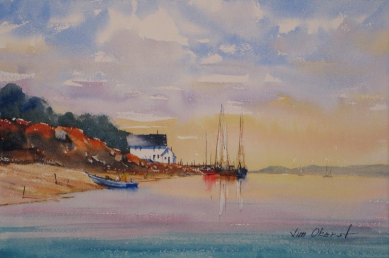 landscape seascape pier wharf dock boat sailboat sea water harbor original watercolor painting oberst