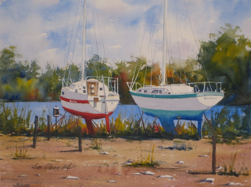 seascape, landscape, sailboat, boat, drydock, maine, midcoast, original watercolor painting, oberst