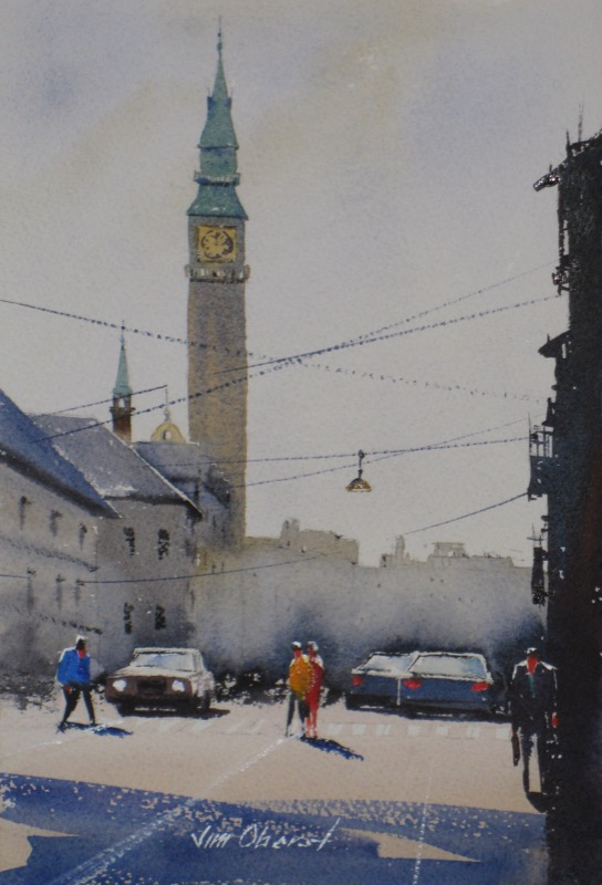 landscape, city, copenhagen, denmark, scandinavia, europe, original watercolor painting, oberst