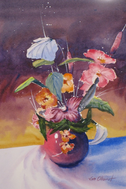 flowers, still life, vase, original watercolor painting, oberst