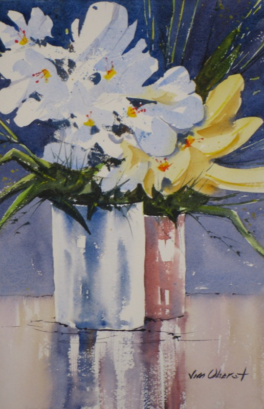 still life, flowers, vase, original watercolor painting, oberst