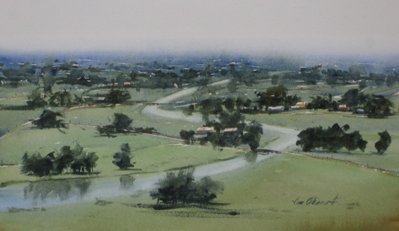 landscape, valley, tywy, wales, dinefwr, river, llandeilo, carmarthenshire, wales, uk, original watercolor painting, oberst