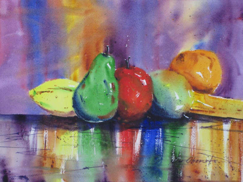 still life, fruit, lemon, pear, apple, orange, banana, original watercolor painting, oberst
