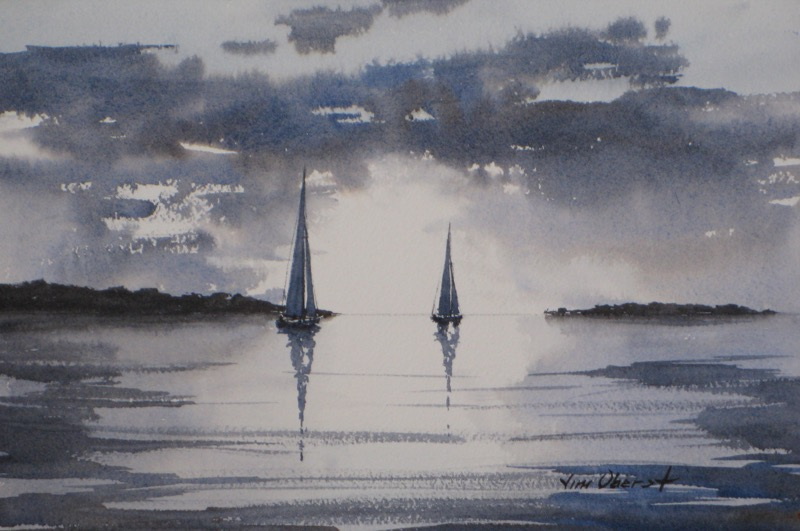 seascape, sailboat, twilight, evening, calm, sunset, original watercolor painting, oberst