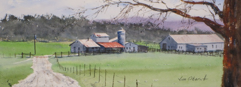 landscape, farm, road, arkansas, lonsdale, barn, original watercolor painting, oberst