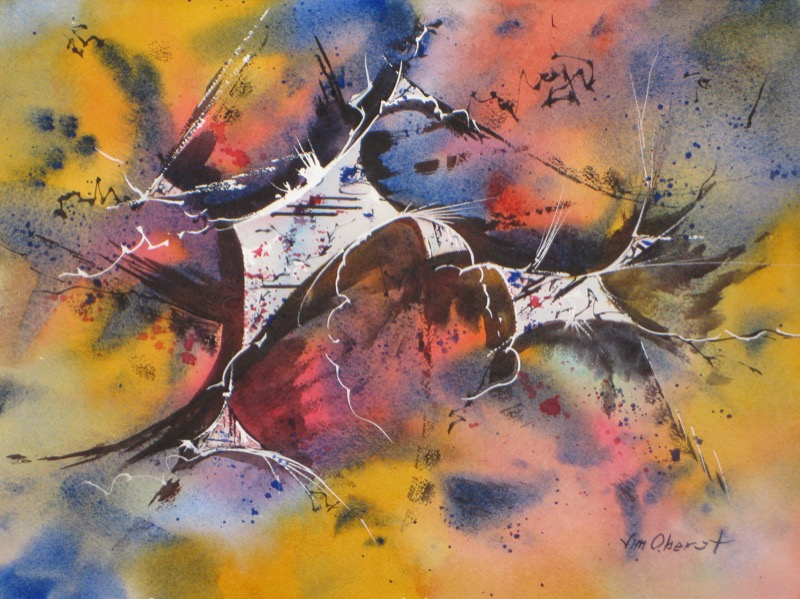 abstract, non-objective, original watercolor painting, oberst