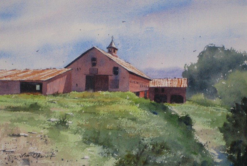 landscape, new england, new hampshire, woodstock, barn, rural, white mountains, original watercolor painting, oberst
