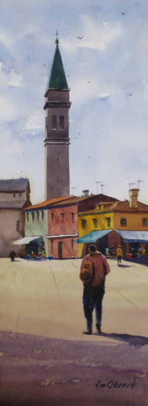 landscape, cityscape, burano, venice, italy, europe, church, campanile, bell tower, san martino, original watercolor painting, oberst